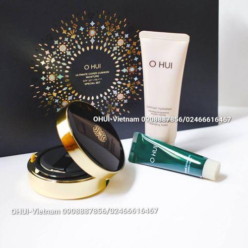 OHUI Ultimate Cover Cushion Set khuyến mãi Phấn nước trang điểm 80ml
