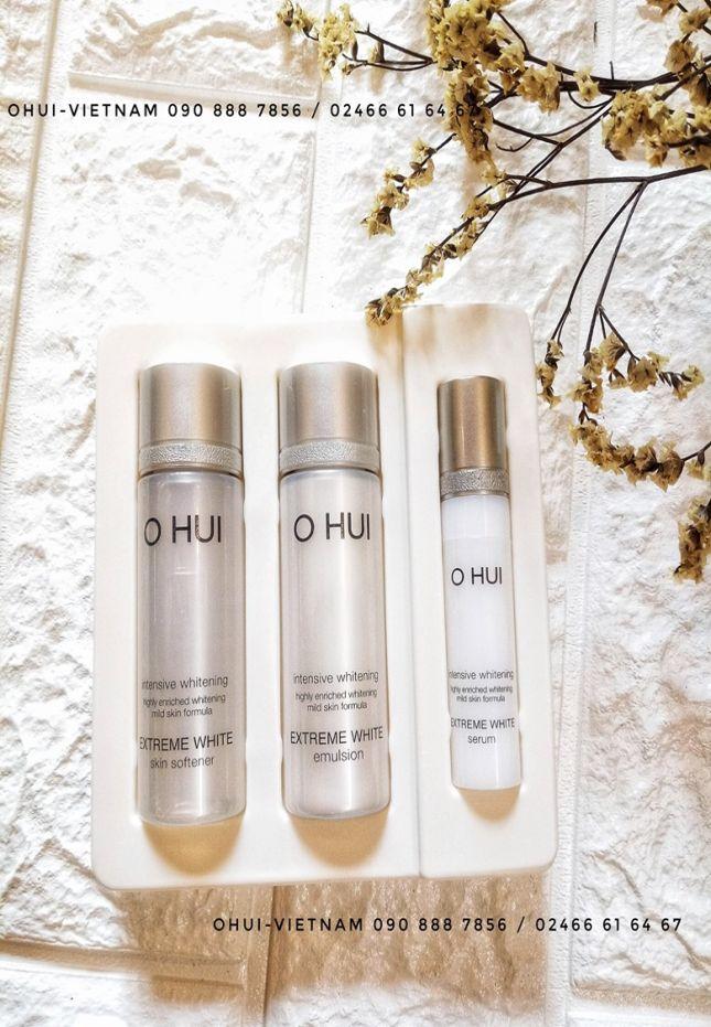 OHUI Extreme White 3pcs Set dưỡng trắng da tinh thể tuyết minisize dùng thử 43ml